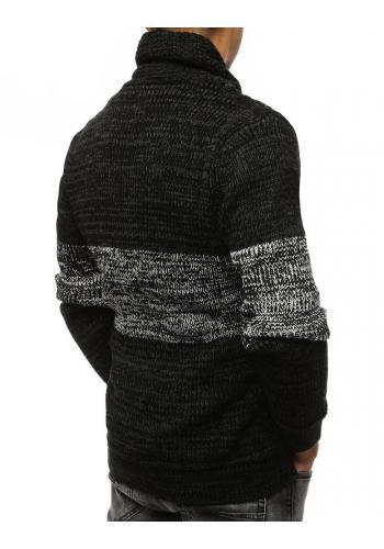 Bavlněný pánský svetr černé barvy s klokaní kapsou