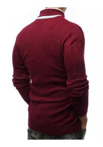 Bordový teplý svetr se šálovým límcem pro pány