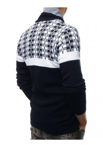 Pánský teplý svetr se šálovým límcem v modro-bílé barvě