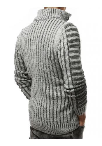 Šedý hrubý svetr s kapsou na hrudi pro pány