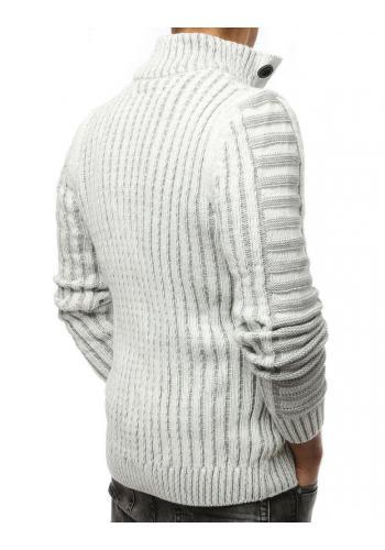 Pánský hrubý svetr s kapsou na hrudi v bílé barvě