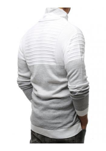 Teplý pánský svetr bílé barvy se šálovým límcem