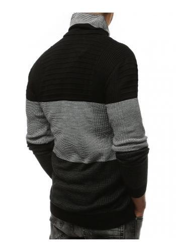 Černý teplý svetr se šálovým límcem pro pány