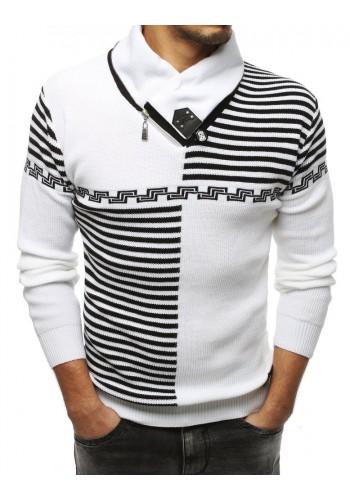 Pánský vzorovaný svetr se šálovým límcem v bílé barvě