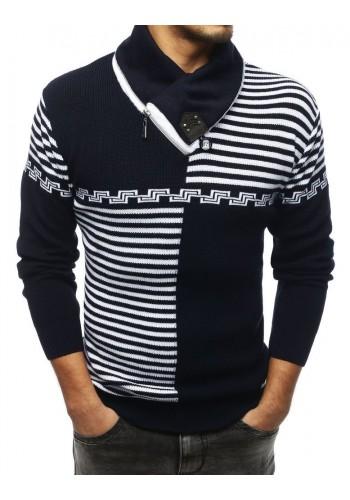 Vzorovaný pánský svetr tmavě modré barvy se šálovým límcem