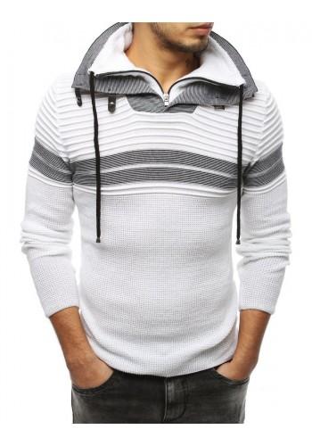 Bílý vlněný svetr se zapínacím límcem pro pány