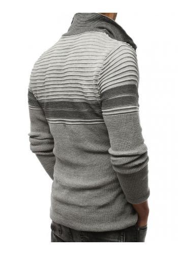 Vlněné pánské svetry šedé barvy se zapínacím límcem
