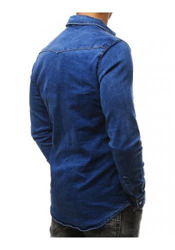 Tmavě modrá riflová košile s dlouhým rukávem pro pány