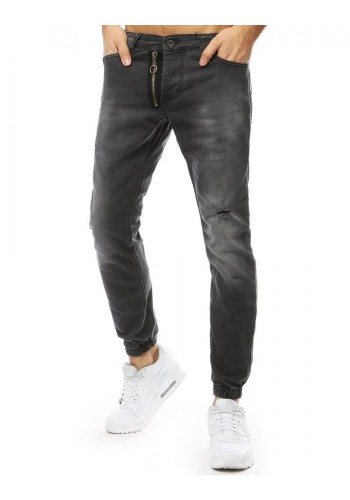 Tmavě šedé riflové Joggery s ozdobným zipem pro pány