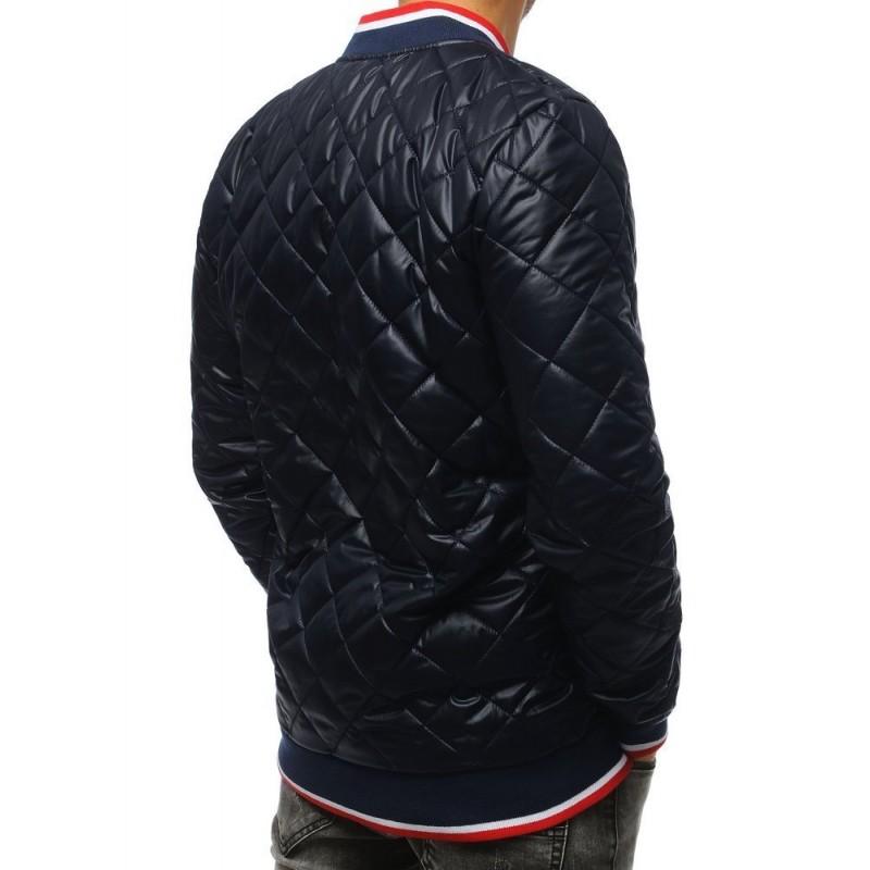 Pánská prošívaná Bomber bunda s nášivkou v tmavě modré barvě