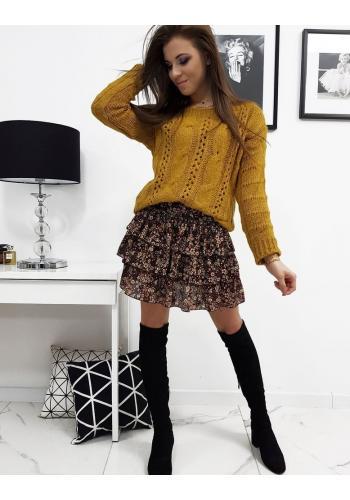 Stylový dámský svetr hořčicové barvy