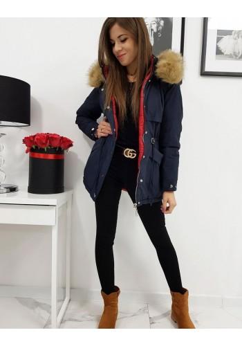 Dámská oboustranná bunda s kapucí v tmavě modré barvě