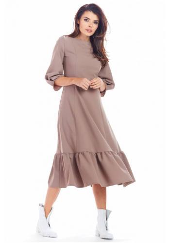 Kapučínové dlouhé šaty s volánem pro dámy