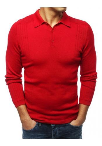 Červený módní svetr s klasickým límcem pro pány