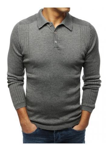 Pánský módní svetr s klasickým límcem v tmavě šedé barvě