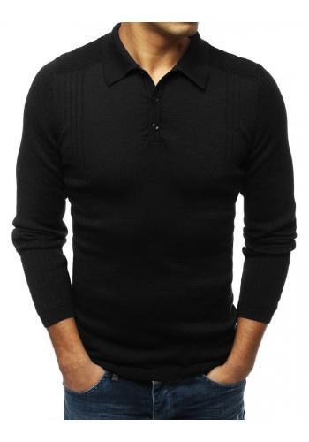Módní pánský svetr černé barvy s klasickým límcem