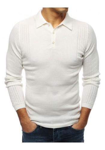 Bílý módní svetr s klasickým límcem pro pány