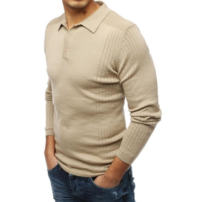 Pánský módní svetr s klasickým límcem v béžové barvě