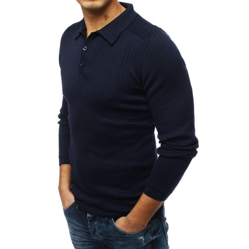 Módní pánský svetr tmavě modré barvy s klasickým límcem