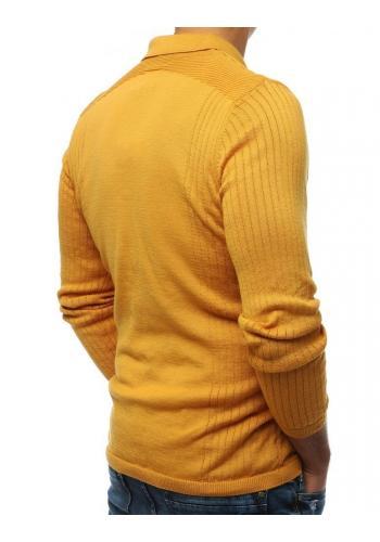 Hořčicový módní svetr s klasickým límcem pro pány