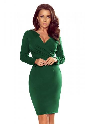 Elegantní dámské šaty zelené barvy s obálkovým výstřihem