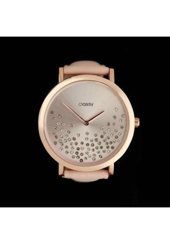 Růžové módní hodinky s krystaly pro dámy