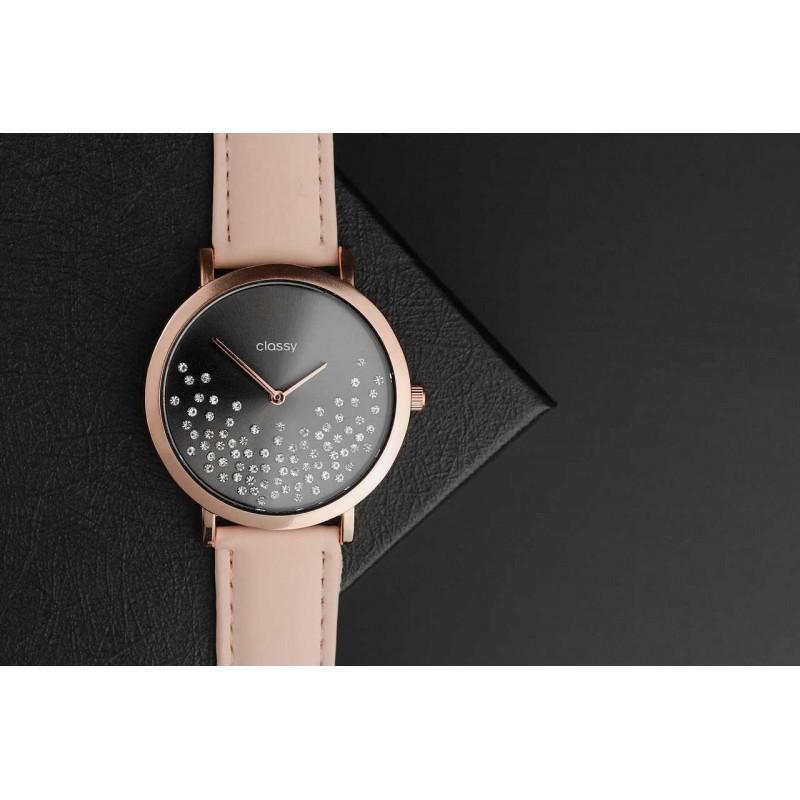 Módní dámské hodinky růžovo-černé barvy s krystaly