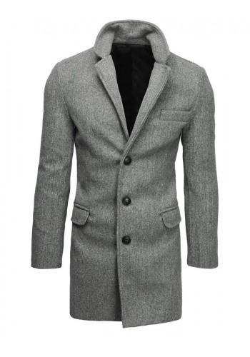 Světle šedý jednořadý kabát pro pány