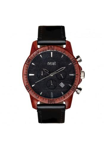 Pánské dřevěné hodinky s koženým páskem v černé barvě
