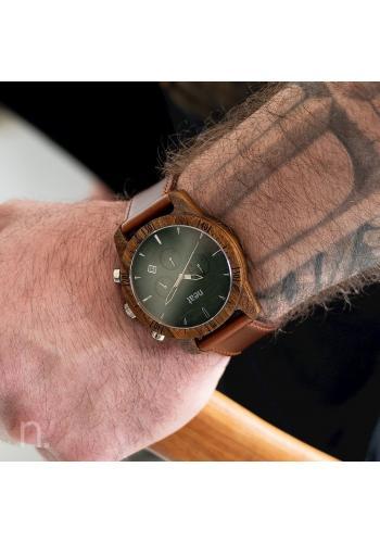 Dřevěné pánské hodinky hnědo-zelené barvy s koženým řemínkem