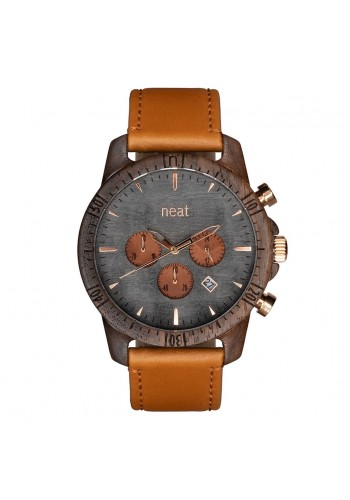 Hnědo-šedé dřevěné hodinky s koženým řemínkem pro pány