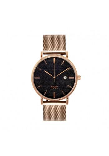 Zlato-černé módní hodinky s kovovým řemínkem pro dámy