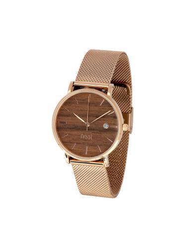 Módní dámské hodinky zlato-hnědé barvy s kovovým řemínkem