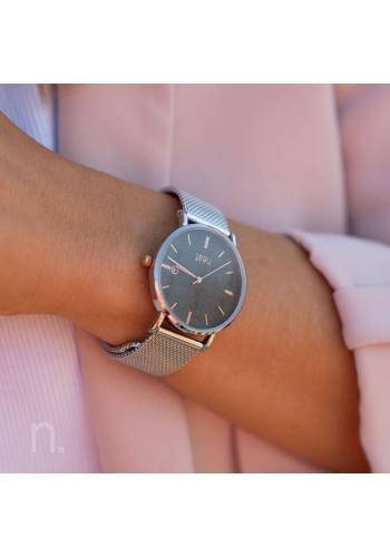 Módní dámské hodinky stříbrno-šedé barvy s kovovým řemínkem