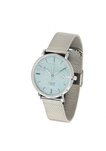 Stříbrno-modré módní hodinky s kovovým řemínkem pro dámy