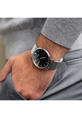 Stylové pánské hodinky stříbrno-černé barvy s kovovým řemínkem