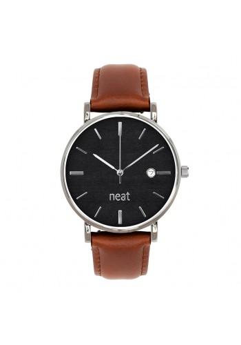 Pánské stylové hodinky s koženým páskem v hnědo-černé barvě
