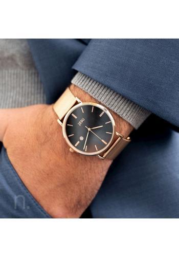Zlato-černé stylové hodinky s kovovým řemínkem pro pány