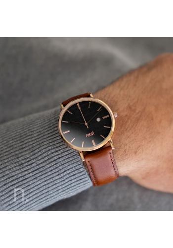 Stylové pánské hodinky hnědo-černé barvy s koženým řemínkem
