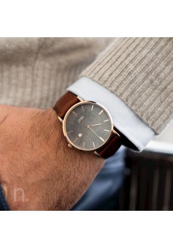 Pánské stylové hodinky s koženým páskem v hnědo-šedé barvě