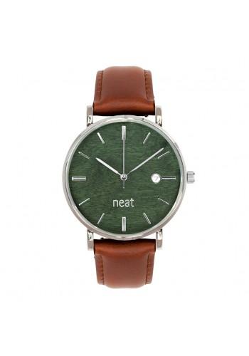 Hnědo-zelené stylové hodinky s koženým řemínkem pro pány