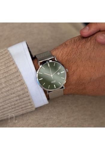 Stříbrno-zelené stylové hodinky s kovovým řemínkem pro pány