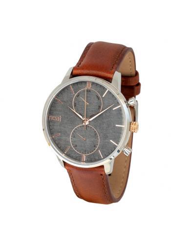 Stylové pánské hodinky hnědo-šedé barvy s koženým řemínkem
