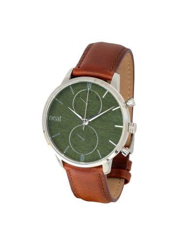 Pánské stylové hodinky s koženým páskem v hnědo-zelené barvě