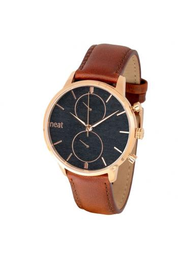 Hnědo-černé stylové hodinky s koženým řemínkem pro pány