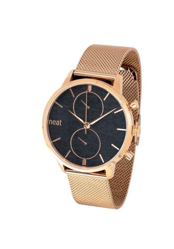 Pánské stylové hodinky s kovovým řemínkem v zlato-černé barvě