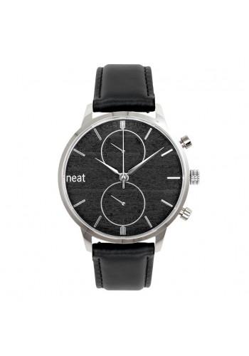 Stylové pánské hodinky černé barvy s koženým páskem