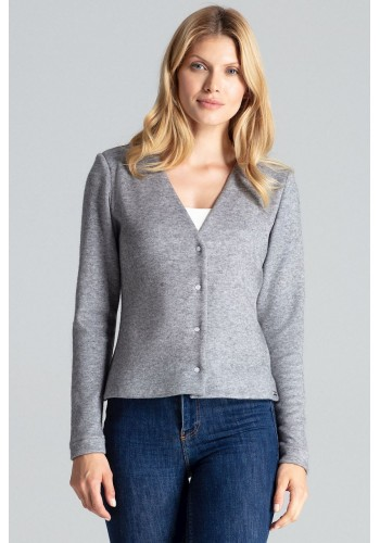 Dámský klasický svetr se zapínáním v šedé barvě