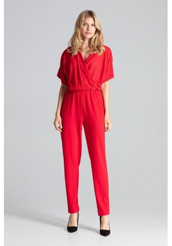 Elegantní dámský overal červené barvy s brokátovým vrchem