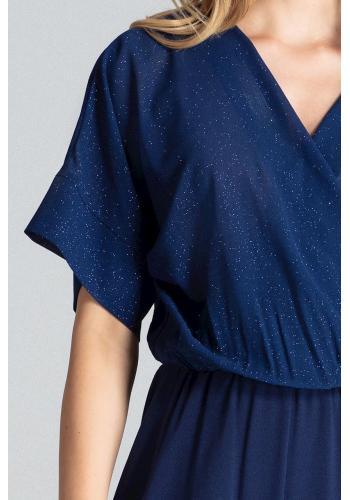 Tmavě modrý elegantní overal s brokátovým vrchem pro dámy